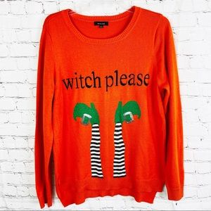 Verve Ami Halloween Witch Please Orange Sweater